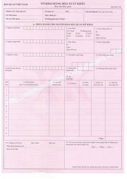 Export Clearance Form Vietnam Import And Export