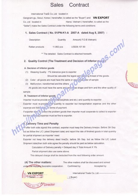 sale contract of export handicrafts products