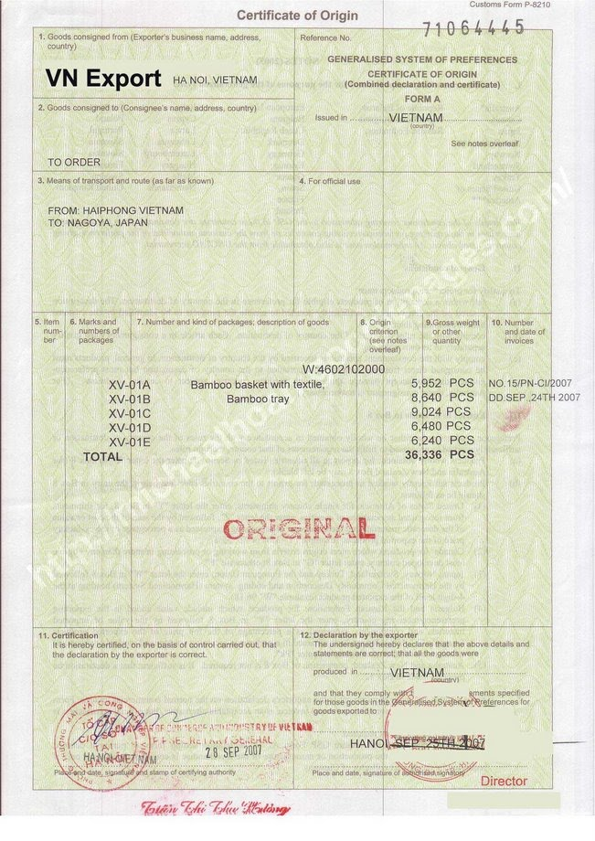 Co form a signed vietnam import and export for Certificate origin template usa