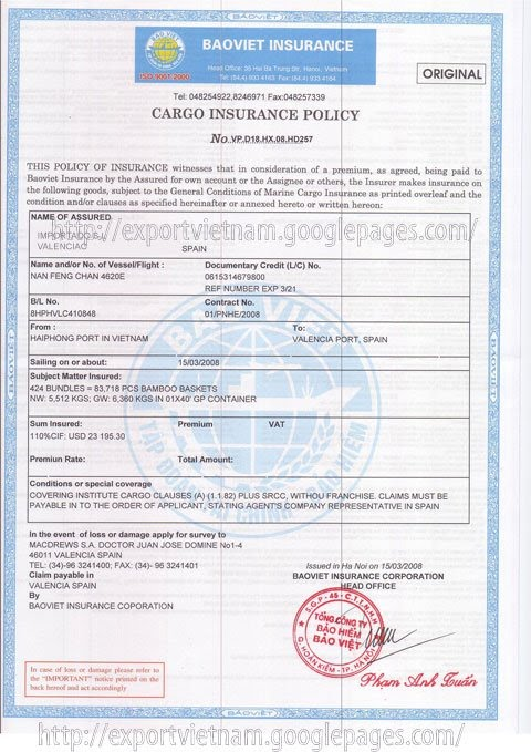 Cargo Insurance Certificate - Vietnam Import and Export