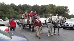 horse drawn hayrides at the Exeter Fall Festival