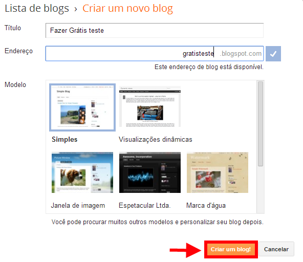 Criando blog no Blogger