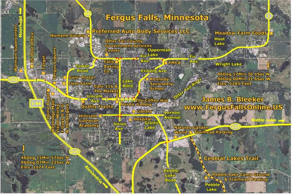 Map Of Fergus Falls, Otter Tail County, Minnesota 56537. The Map Highlights  Main