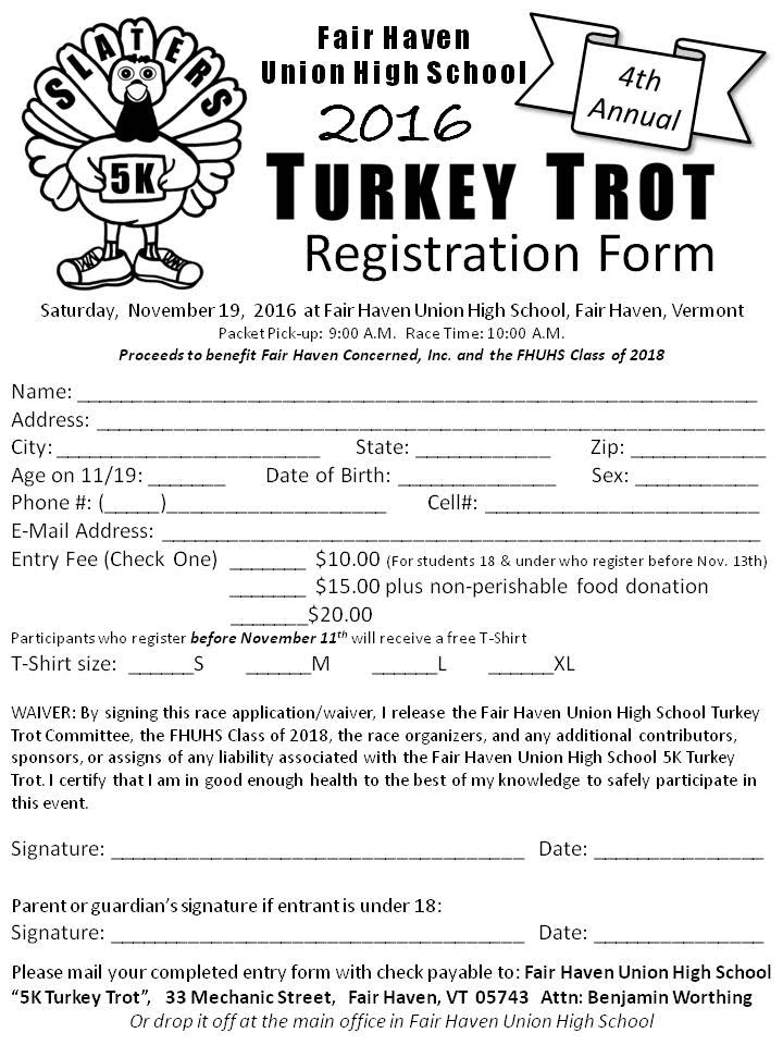 Registration Form - Fhuhs 5K Turkey Trot