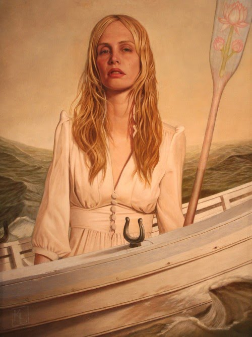 kris lewis oil painting of a woman with a paddle in a boat in the ocean
