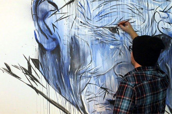 larger than life size figurative wall painting