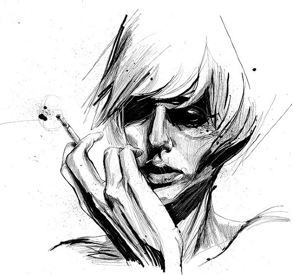 pen and ink portrait illustration of woman smoking
