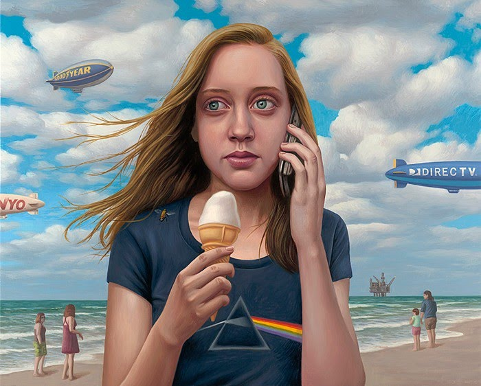 hyper realist painting girl  eating icecream on beach