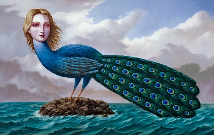surreal painting peacock girl