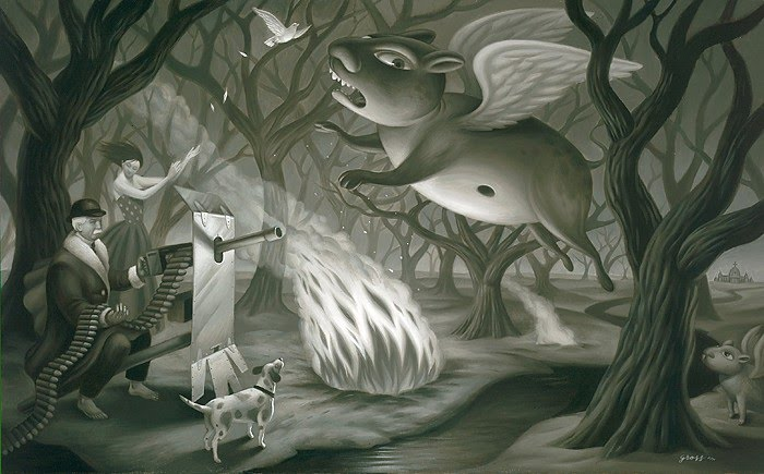 surreal black white painting campfire in woods