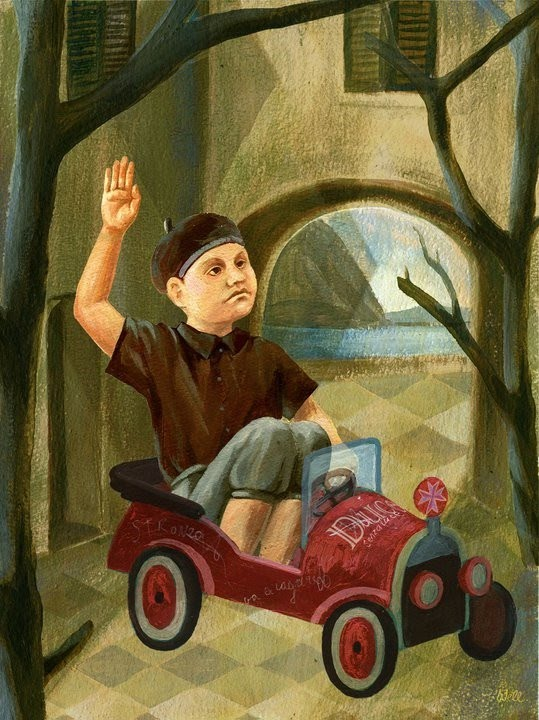 painting of boy in toy car