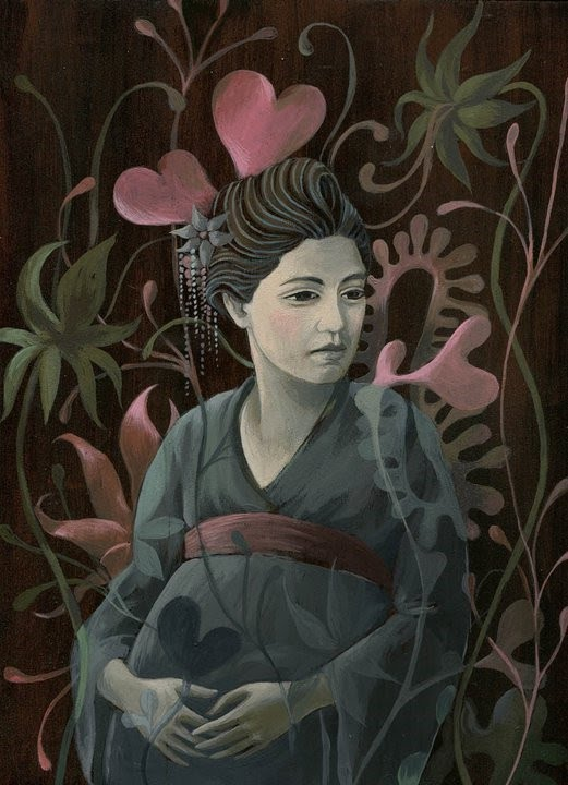 floral figurative painting japanese girl komono
