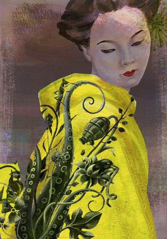 figurative painting of girl in yellow komono