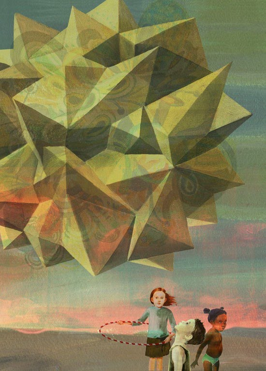 painting kids with giant geometric object floating above