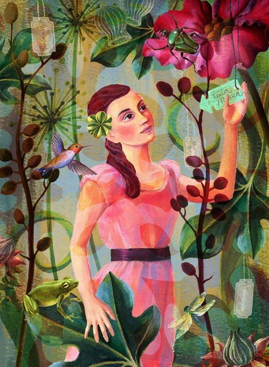 illustration of girl in garden