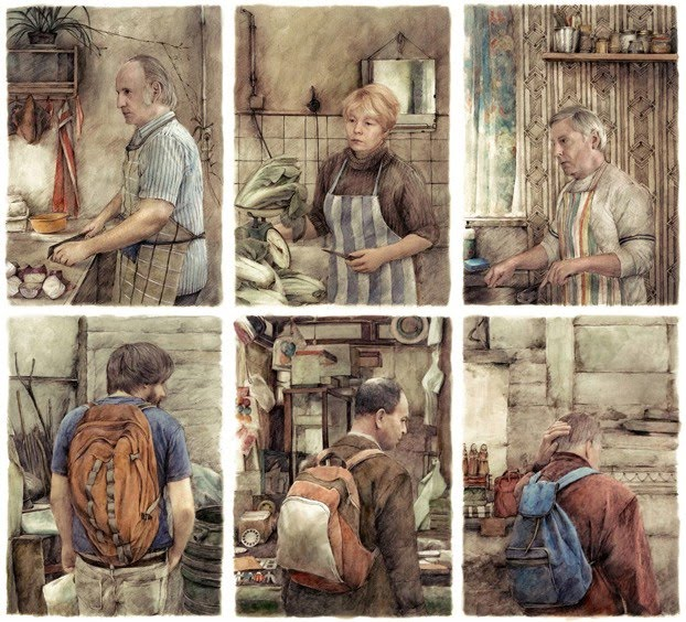 figurative illustrations people working walking