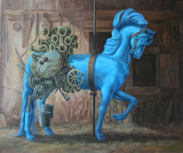 blue merry go round horse barn musical instruments painted