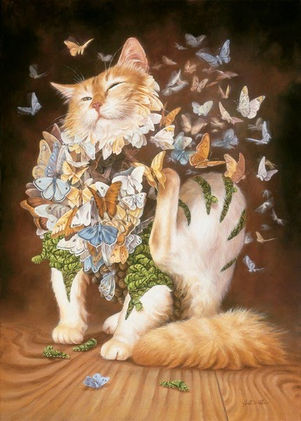 painting cat scratching butterflies flying