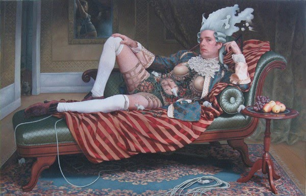 surreal figurative painting man dressed like english lord