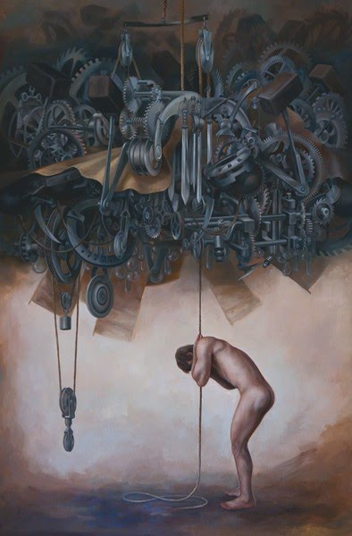 painting naked man pulling rope sky mechanical gears