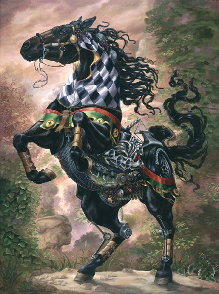 surreal equestrian painting mechanical