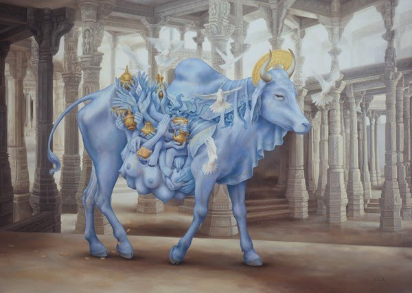 painting sacred blue cow labyrinth of columns
