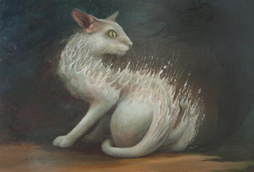 surreal paintingscared cat