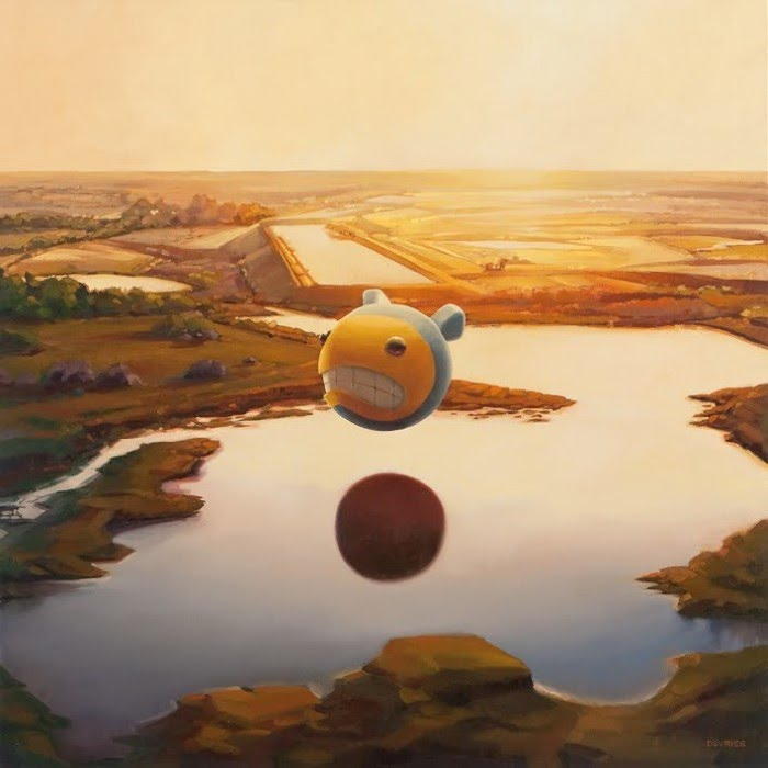 fantasy art illustration giant smiling face floating over lake