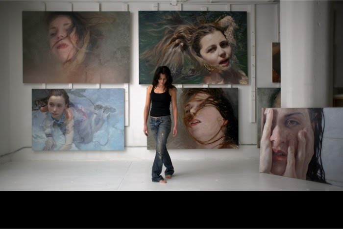 photograph of artist alyssa monks paintings