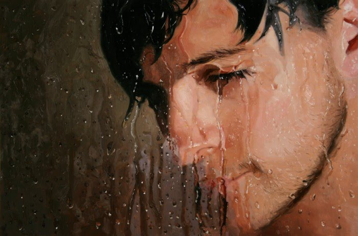 realistic painting wet face man behind foggy shower door