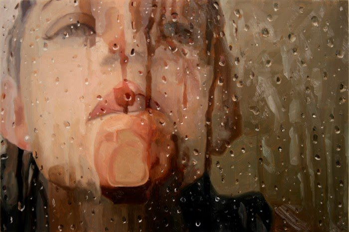 realistic painting shower girl