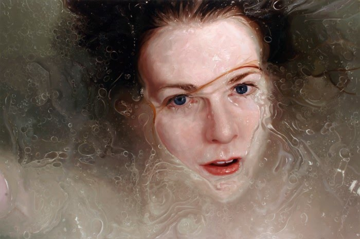 realistic painting girl in water looking up