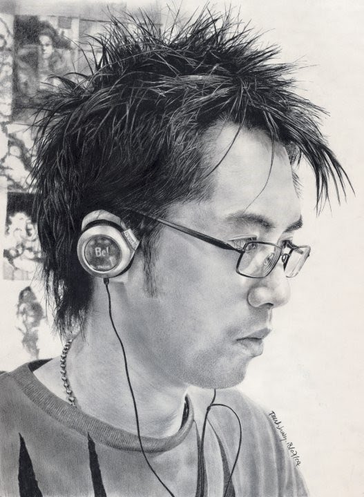 photograph quality portrait drawing boy with glasses listening to music