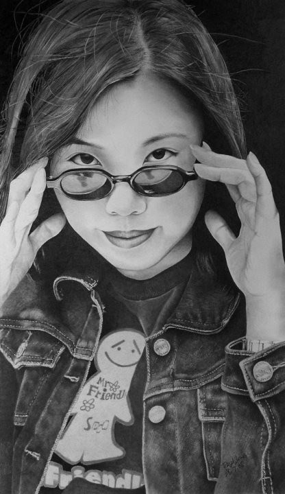 photo realistic portrait drawing girl with glasses jean jacket