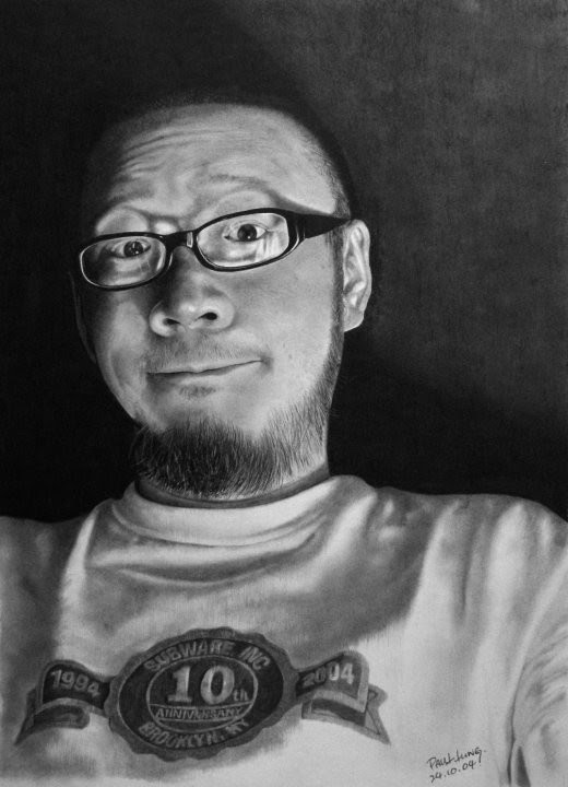self portrait drawing with glasses