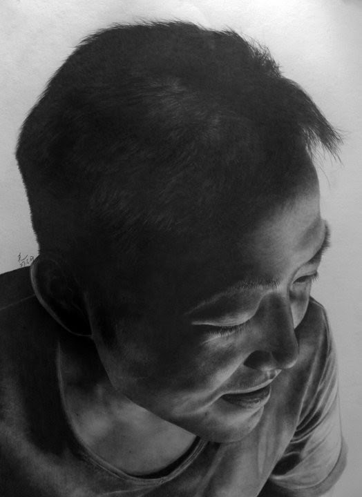 shadowed realistic portrait drawing man