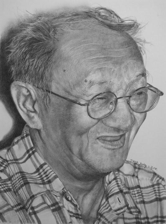 portrait drawing old man plaid shirt