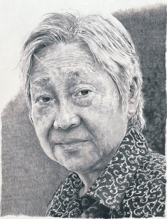 portrait drawing old woman paisley blouse
