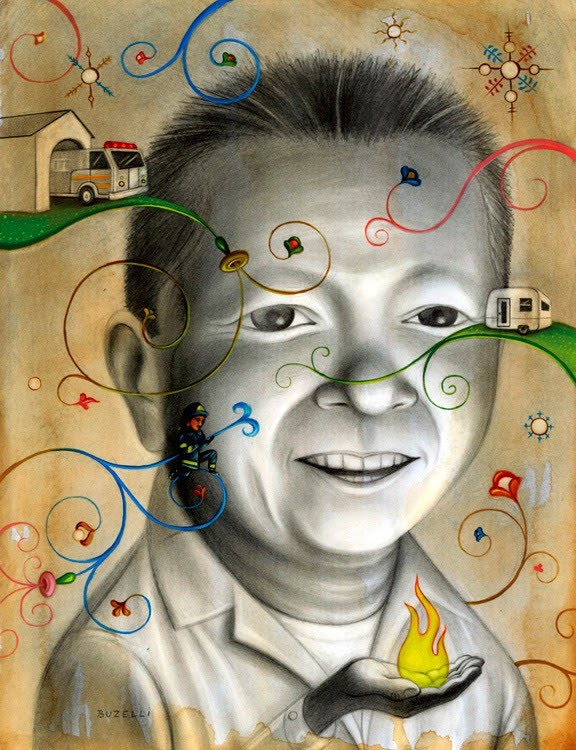 portrait painting by chris buzelli of a boy imagining growing up and becoming a fire fighter