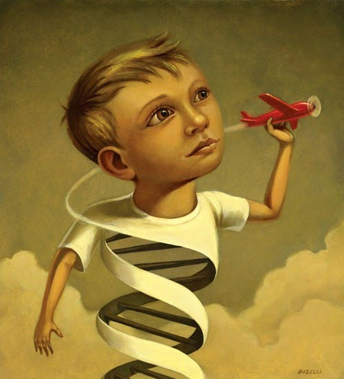 portrait painting of a boy going around in circles flying a tiny red plane with vapor trail twisting into the boys shirt which turns in a surreal manner - painting by chris buzelli