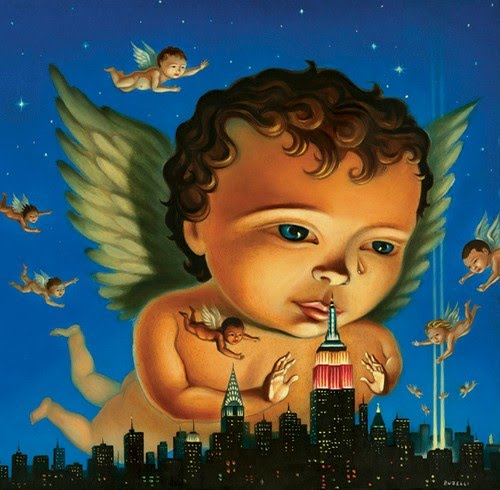 dramatic painting by chris buzelli of baby cupids flying over a modern city at night