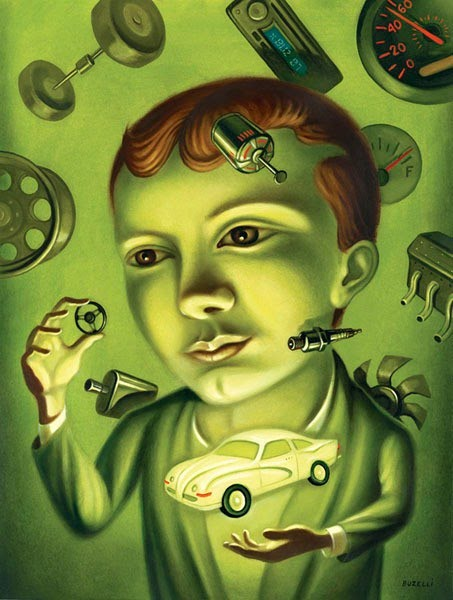 painting by chris buzelli of a boy and his imagination with taking apart, examining, and reconstructing a toy car; green in color