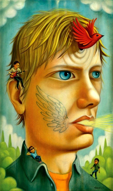 dream like portrait painting by chris buzelli of a blonde haired man with a red bird flying out of his forehead