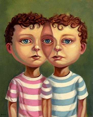 imaginative portrait painting by chris buzelli of two twin boys in stripped shirts who appear to merge together