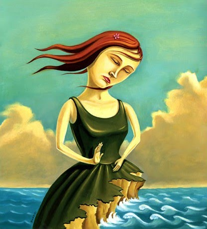 figurative painting by chris buzelli of a red haired woman who's dress turns into cliffs on an ocean shore with clouds floating in the background with a turquoise sky