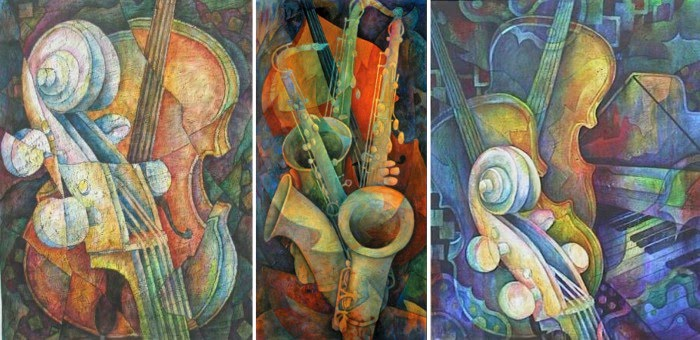 3 musical paintings by susanne clark including saxophones and cellos