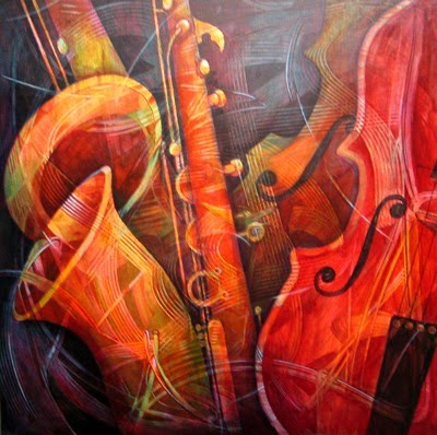 painting of a cello flute and saxophone by susanne clark