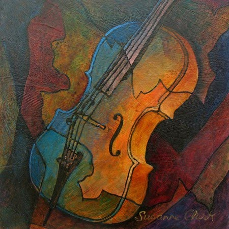 beautiful painting of a cello by susanne clark
