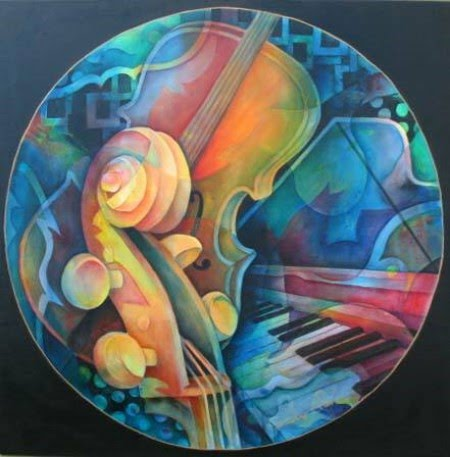 musical painting series of a cello and piano