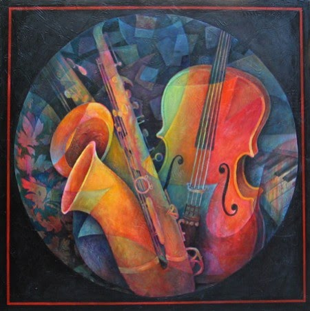 painting of a saxophone and cello by susanne clark
